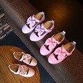 La primavera y El Otoño de 2017 nueva chica de moda de piel niños de la princesa zapatos Arco zapatos de la escuela, niños zapatos niños de los planos de zapatos de cuero