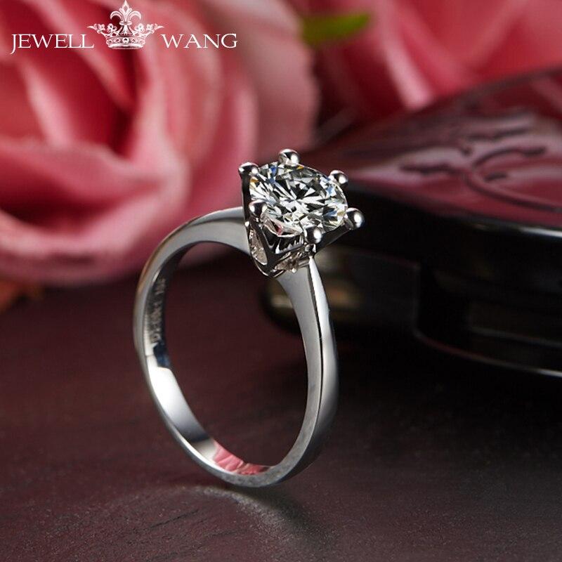 Jewellwang 18 к белое золото шесть зубец Установка Корона 0,5 карат Цвет уровень J k G I F G D E Moissanites обручальные кольца для женщин
