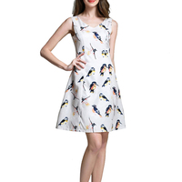 Korean Fashion Summer Dress Women Floral Birds Print Casual A Line Dresses Ladies Cute Elegant Mini