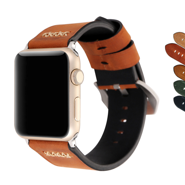 6887508f21c 7 Colors Band for Apple Watch Series 1 2 3 Strap for Smartwatch belt for  Panerai style handmade Retro Leather band 38 42mm