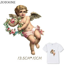 Prajna DIY Angel Baby Patches Wreath Heat Transfer For Clothing Cute Kids Flower Patch T-shirt Dresses Wing Washable Applique D1