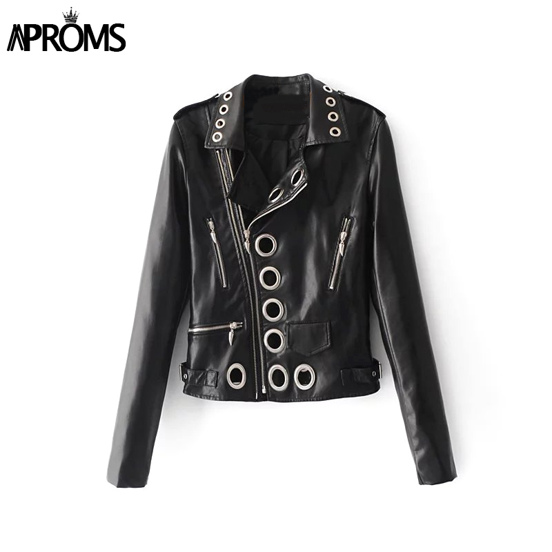 Aproms Fall 2018 Black PU Leather Moto Jacket Eyelet Zipper Coat Jacket Women Winter Fashion Basic Jacket Female Outwear Coats