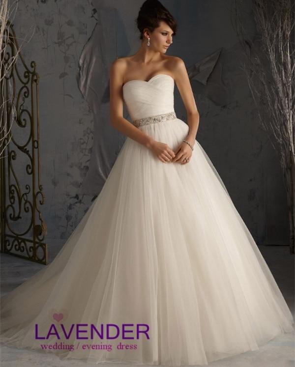 Modest Puffy Skirt Tulle Ball Gown Wedding Dress 2017