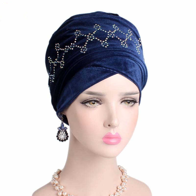 2019 Women New Drilling Long Tail Velvet Turban Muslim Style Wrapped Head Scarf Hat Ladies Hair Accessories Rhinestone Headdress in Women 39 s Hair Accessories from Apparel Accessories
