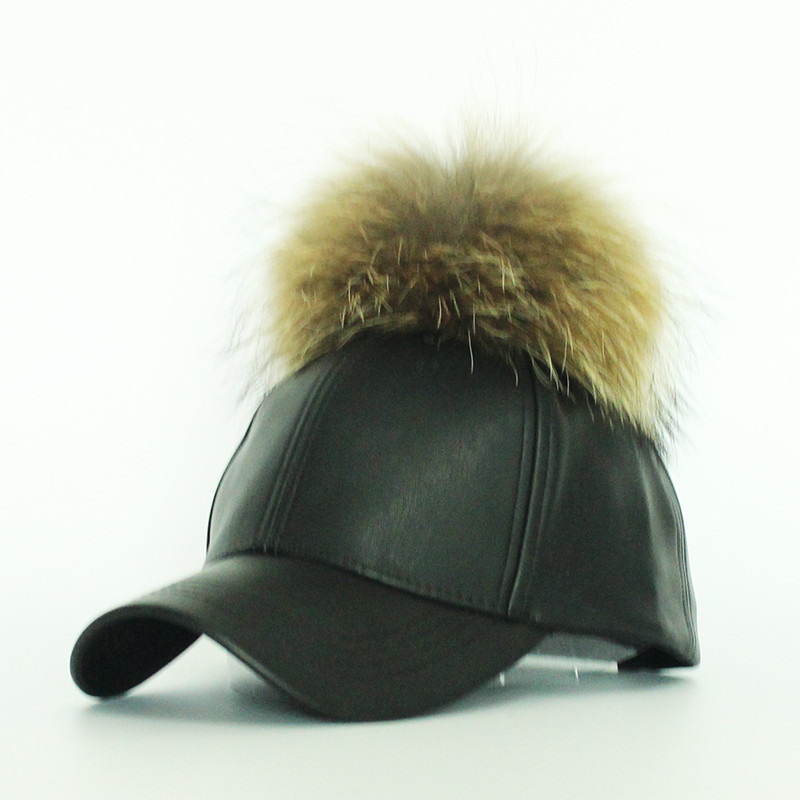 2016-Hot-Sale-Women-s-Winter-Hat-PU-Leather-Pom-Pom-Cap-Leather-Hat-With-Fur (2)