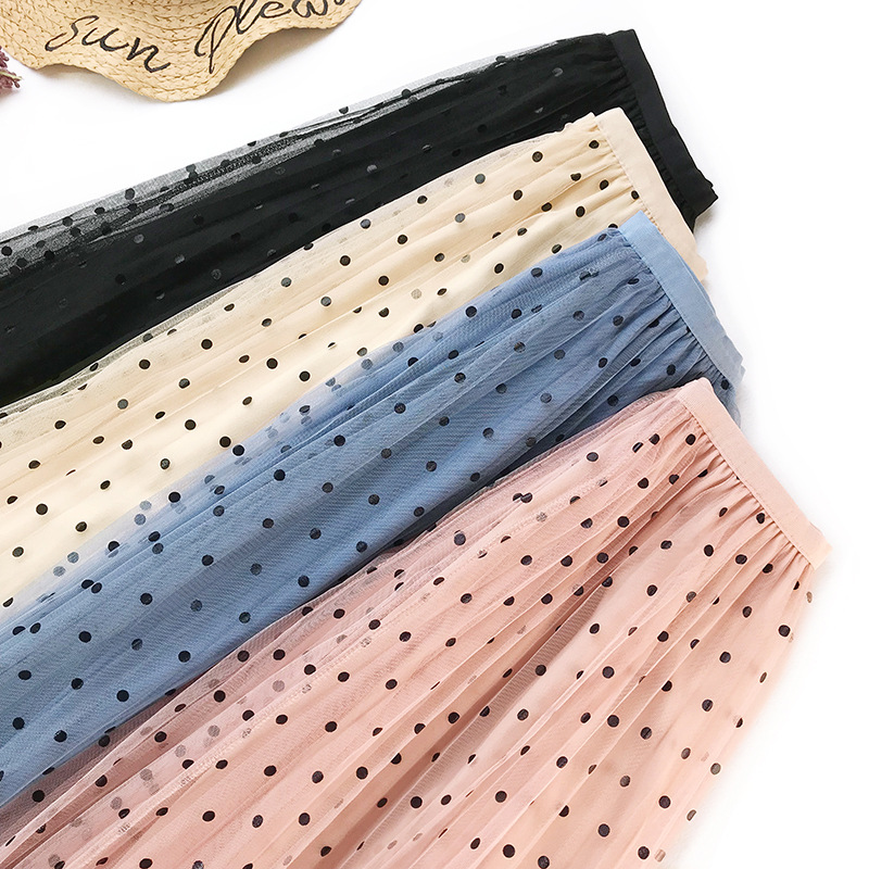New Women Tulle Skirt Cute Dot Pleated Skirt Women Long Tutu Skirts Jupe Saia Faldas 2019 Casual High Waist Elascity Party Skirt
