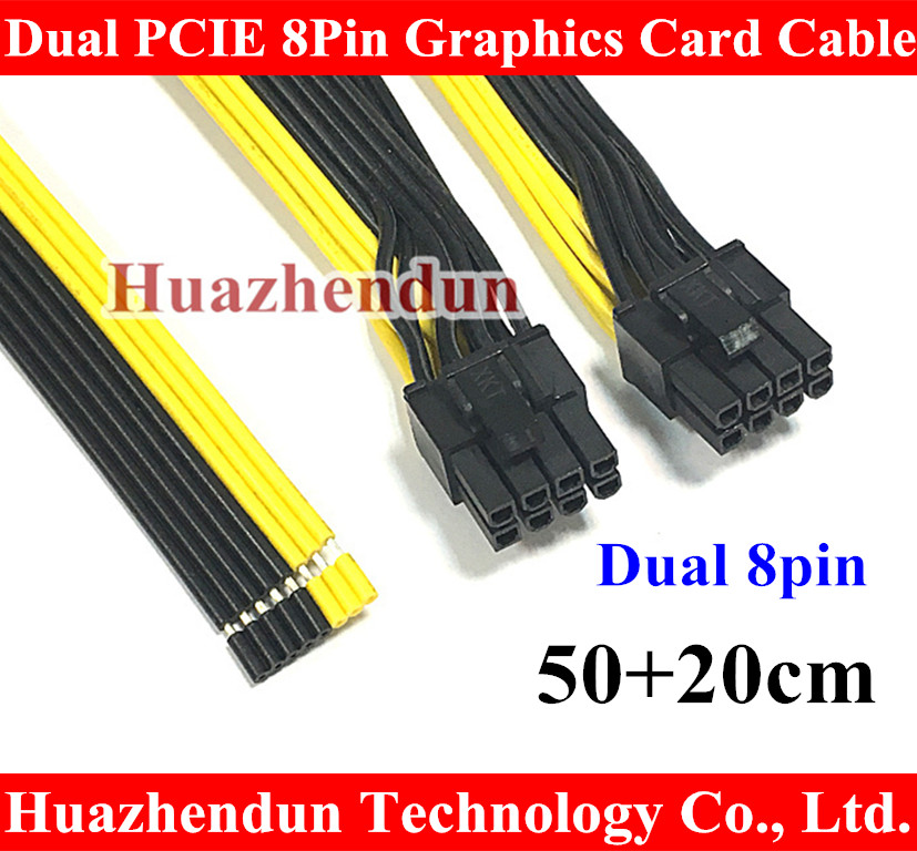 Free DHL/EMS Dual Double Port PCI-E PCIE PCI Express 8Pin Graphics Video Card DIY Power Flat Cable Cord 18AWG 8pin+8pin 50+20cm free ship via dhl ems new original mac pro n vidia geforce 7300gt 256mb for 2006 2007 video card 1gen pci e graphic card