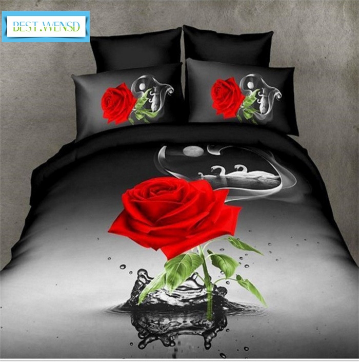 Best Wensd Luxury Red Pink Rose Bedding Set King Size Home Textiles Double Bed Duvet Cover Wedding Decoration Bedclothes