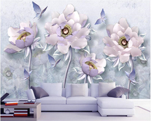 beibehang 3D three-dimensional silk cloth papel de parede 3d wallpaper embossed peony flower Vintage European jewelry background