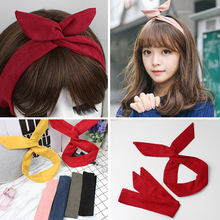 Retro Suede Solid Color Rabbit Ears Headband For Women Cross Bow Hairband Fashion Hair Accessories Metal Wire Red Pink Hair Ties