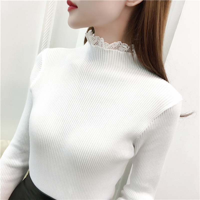 2018 High Elastic Knitted Sweater Women Fall Winter Lace Patchwork Long Sleeve Women Sweaters And Pullovers Female Pull Femme