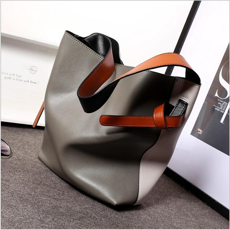 ФОТО 2016Designer Women Genuine Leather Handbags Bucket Shoulder Bags Ladies Cross Body Bags Large Capacity Ladies Shopping Bag Bolsa