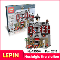 LEPIN 15004 2313Pcs With Original Box Street View Series Creator Fire Brigade Model Building Blocks Compatible