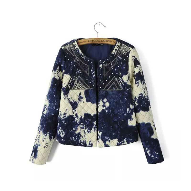 2016 Women Short   Jacket   Coat Spring Autumn Thin Cotton Padded Embroidered Tie Dye Sequin   Jackets   Coats Outerwear   Basic     Jackets