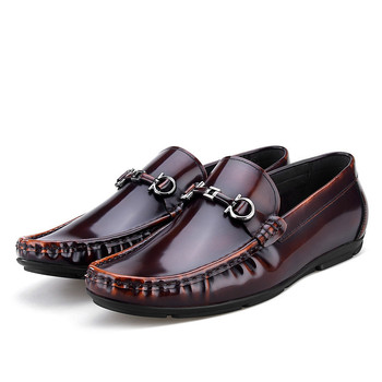 Fashion Wine Red / Black Moccasin Shoes Mens Summer Drive Shoes Patent Leather Flats Loafers Mens Casual Shoes