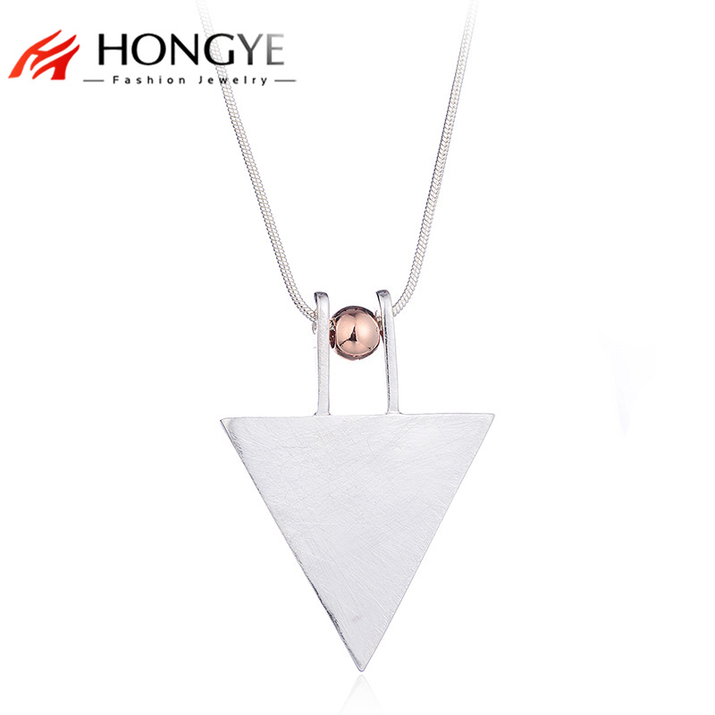 HONGYE 2017 Silver Triangle Long Necklaces & Pendants Women Snack Chain Geometric Drawing Necklace Female Jewelry collier femme