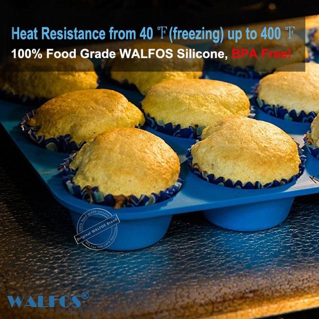 Walfos 100% food grade 12 Cup Silicone Muffin pan &Cupcake Baking Pan Non-Stick silicone cake mold round Mini Muffin Pan form