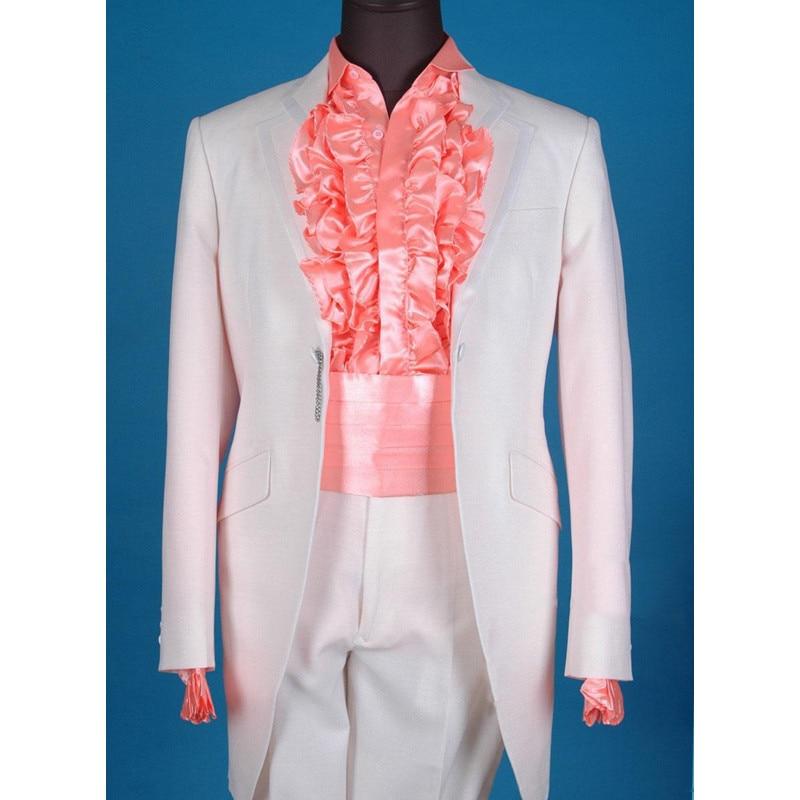 Hot Suits Custom Made Knop mannen Pak 4 Pcsset Jas + broek + strikje + gordel Mannen Wedding smoking Bruidegom Smoking (jas + broek)