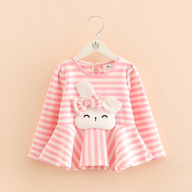 Bow spring baby T-shirt 2017 new girls kids children play long sleeved bottoming shirt coat tx-8199