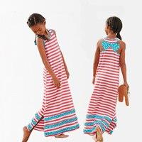 Girls Dress 2014 Summer Girls Casual Dress Kids Stripped Long Beach Dress With Bowknot All For