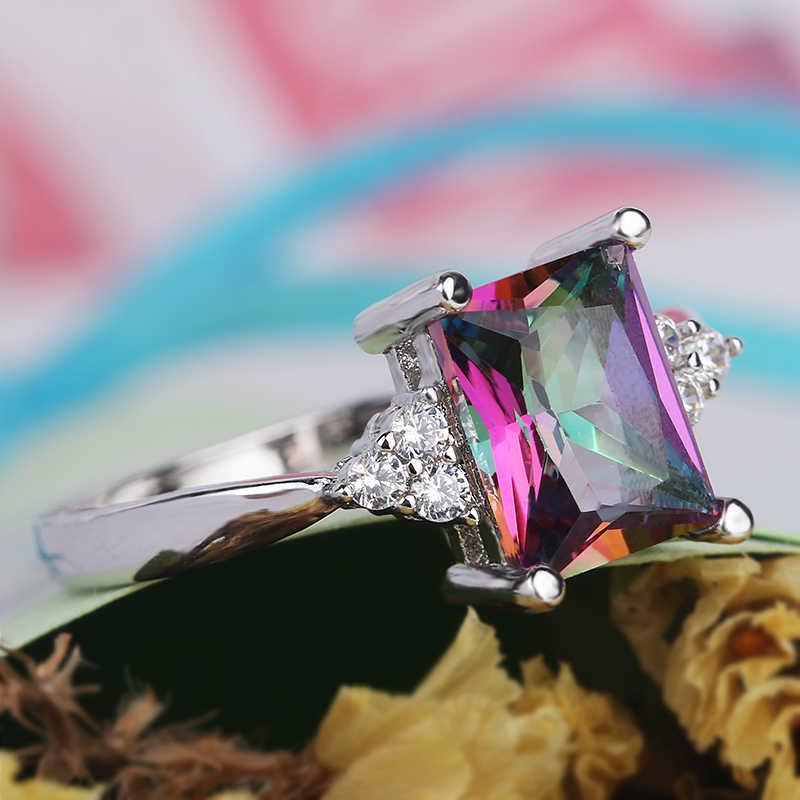 Bague de fiançailles de luxe Zircon multicolore brillant avec des anneaux de cristal carrés de couleur argent blanc pour les femmes bijoux cadeau mujer