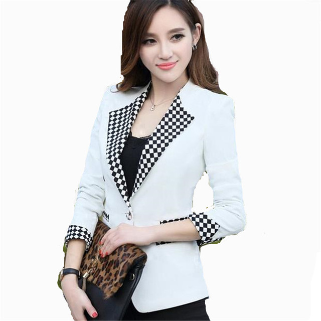4 Cores 2016 New Coréia Moda Único Botão Entalhado Xadrez Mulheres Jaquetas Blazers Primavera Outono Feminino Terno Fino Plus Size ZS773