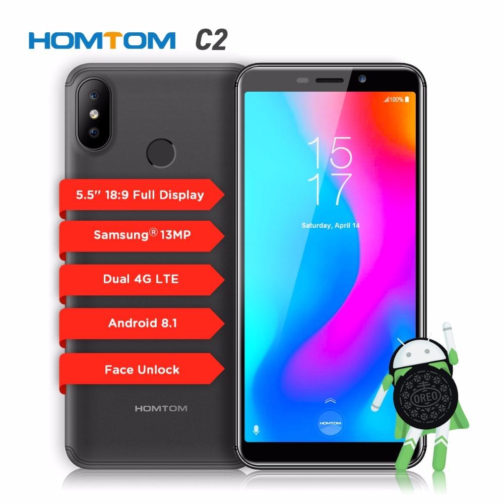 HOMTOM C2 смартфон 18:9 полный Экран MTK6739 четыре ядра процессор 5,5 отпечатков пальцев 2 ГБ + 16 г двойной камеры заднего вида 13MP + 8MP мобильный телефон...