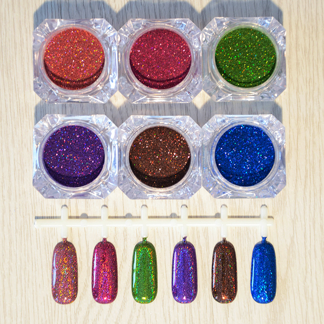 6 Pcs/Set Holographic Laser Powder Nail Glitter Gorgeous Glitter Powders 6 Colors Manicure Nail Art Decoration  by Born Pretty
