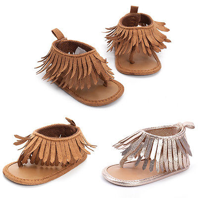 2017 Newborn Baby Girls Sandals Tassel Anti-Slip Crib Shoes Soft Sole Prewalkers
