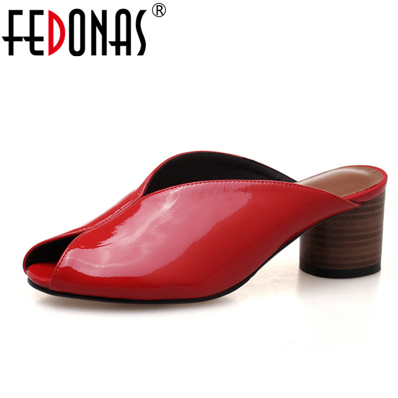 FEDONAS 2020 Fashion Sandals Women Summer Patent Leather Peep Toe Thick Heel Soft Leather Casual Shoes