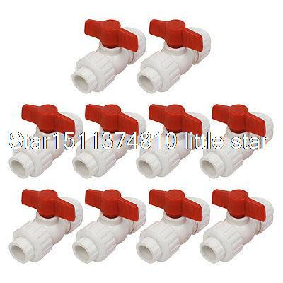 10pcs 19mm to 19mm Ends Double Headed Union PPR Ball Valve White Red [ericsson] ppr headed ho melt copper union ppr union ppr fittings ppr pipe fittings