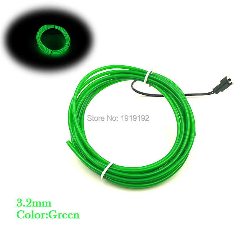 3.2mm 10M DC-3V Flexible Light Glow EL Wire Rope tape Cable Strip Neon Lights Shoes Clothing Car Party Decora waterproof strip