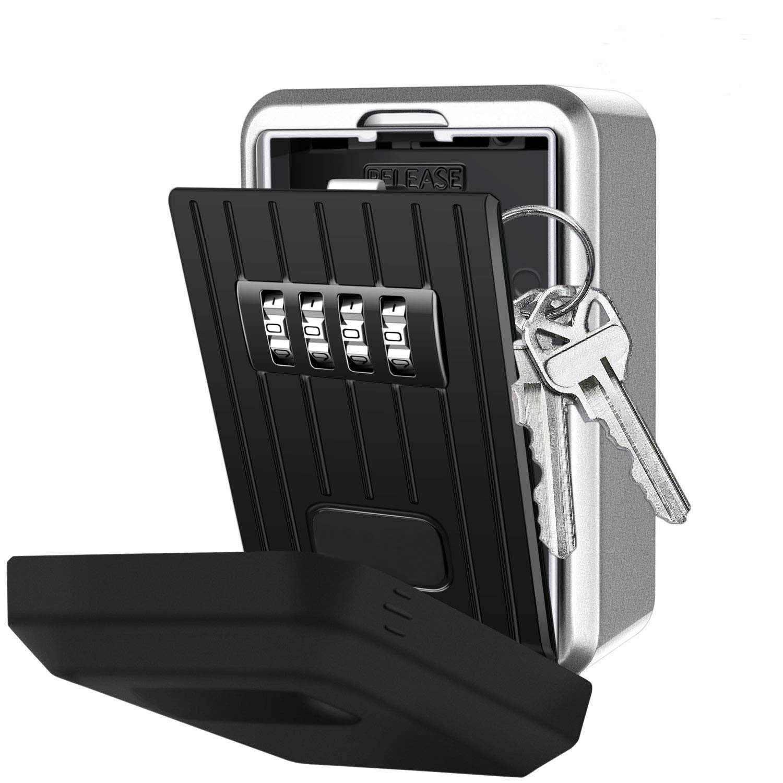 Key Lock Box with 4 Digit Combination Lock Box for House Key Wall Mounted Weatherproof Resettable Code Key Lock Box