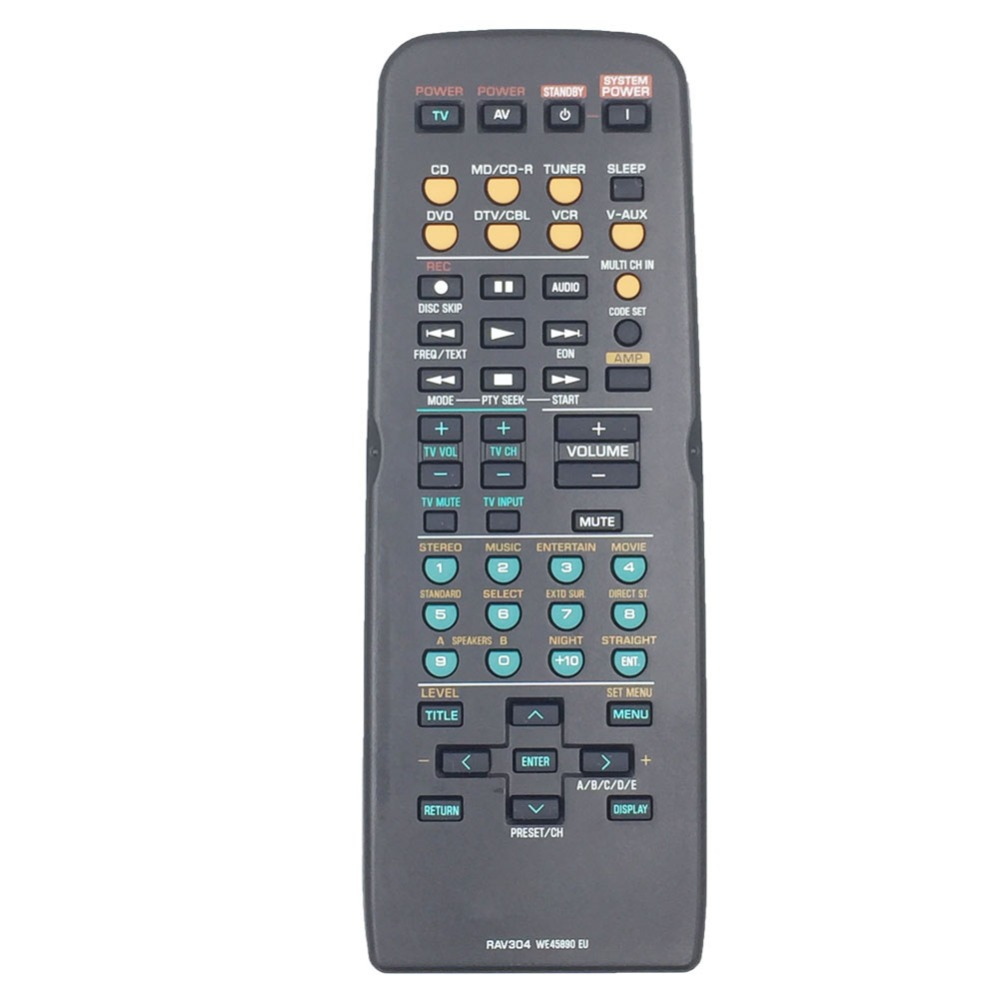 RAV304 Use For YAMAHA AV Receiver Remote Control HTR-5930 RX-V359 YHT-270 YHT-570 RAV3 WE45890 UE new remote control fit for yamaha wn058100 htr 6130 rx v363bl rav283 a v av receiver remote control