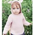 2017 Nuevos Niños Suéteres de Orejas de Conejo de Las Muchachas de Suéter Con Capucha de Lana Tejido de Punto de Algodón de Invierno Suéter Infantil Ropa Para Niños