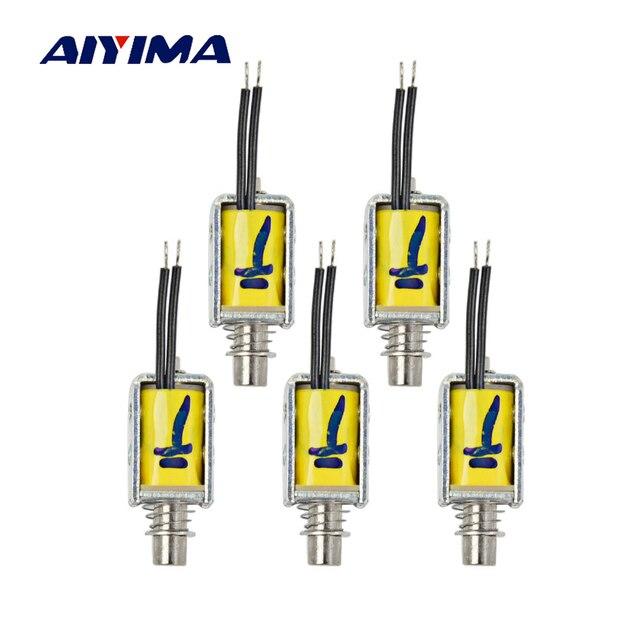Aiyima 5pcs Micro DC Electromagnet DC3V-6V Travel 3.5 MM Push Pull Type Frame Electromagnets For Household Appliances Magnet