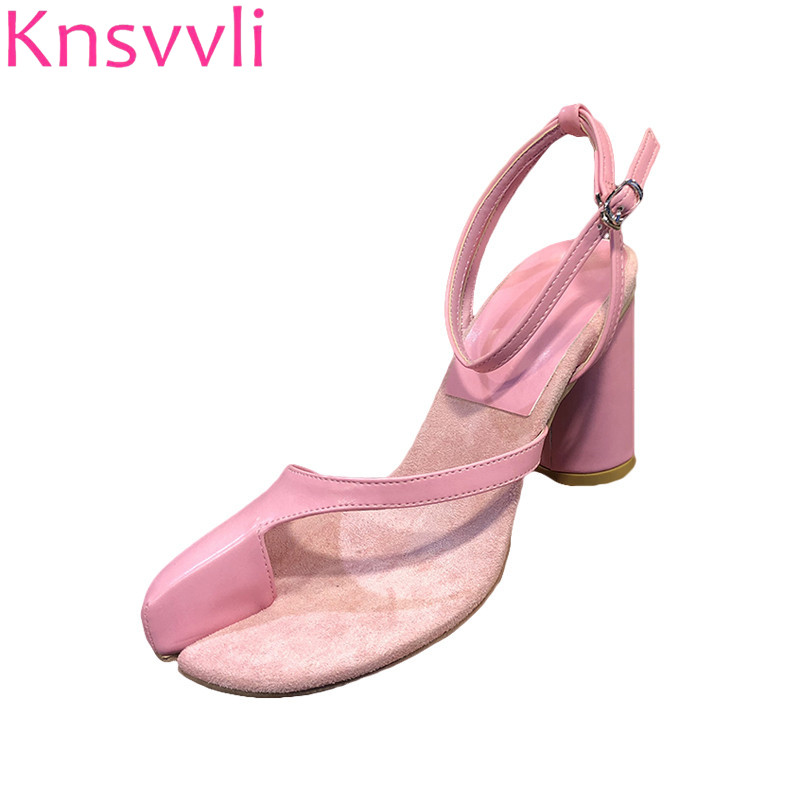 Knsvvli Pink Chunky High Heels Women Pumps Personality Fashion Branch Toe Set Toe Ankle Buckle Strap