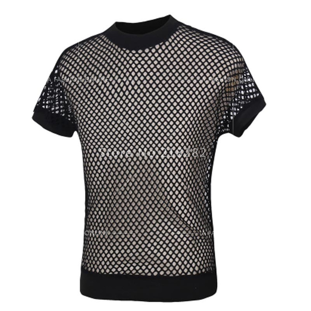 Vendas! TopsTransparent Mens T-shirt Dos Homens Moda Nova Sexy Black Fishnet Net Malha Gay See-Thru Camisa Engraçada Undershirt