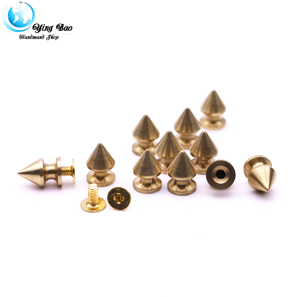 20sets/pack 8mm (Diameter), 12mm (Height)  Copper Cone rivet gold Colors gold studs for clothing B-24
