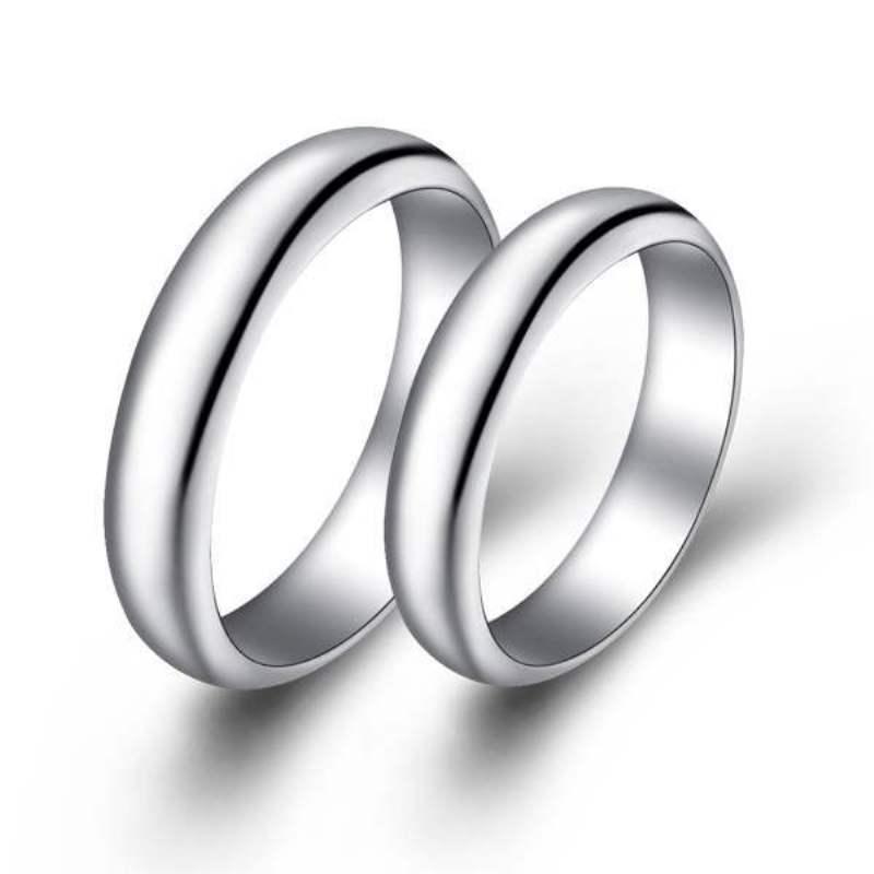 Aliexpress.com : Buy Silver plated ring couple men /female plain ...