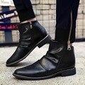 Homens de Botas Cavaleiro tornozelo Confortável PU Deslizamento de Couro Em Sapatos Dedo Apontado Botas Marrom Preto Cores Brancas Hommes Chaussures Homens