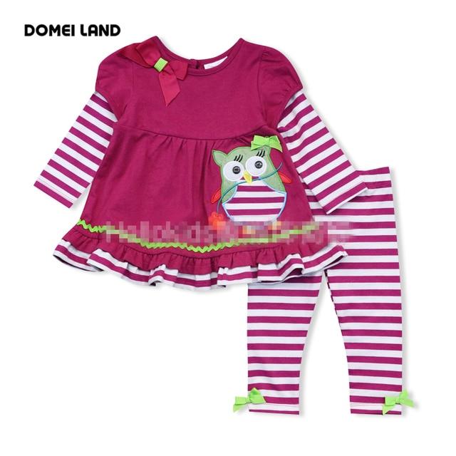 2016 новая мода РЕДКИЕ ИЗДАНИЯ детские рябить костюмы одежда наборы сова девушки милые дети с длинными рукавами полоса леггинсы костюмы