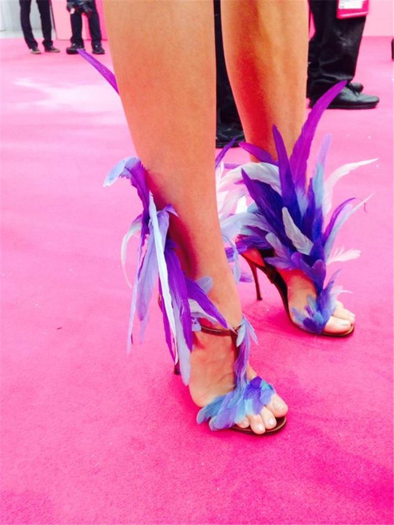 As T Mince À Plume Bout Femmes Fourrure Picture De Nouveauté Talons Coloful Cuir Sandales sangle spectacle Chaussures Ouvert Hauts Partie T Défilé En Stilettor vqwWA0XpB