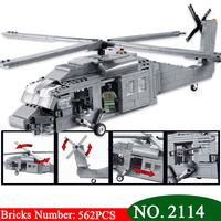 Decool 2114 UH 60 Black Hawk Commandos Helicopter Sheng Yuan Building Block Kids DIY Bricks Toys for Children