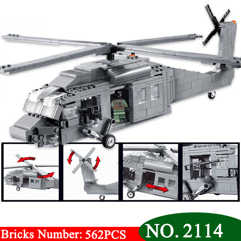 Decool 2114 UH-60 Black Hawk Commandos Helicopter Sheng Yuan Building Block Kids DIY Bricks Toys for Children rammstein rammstein mutter