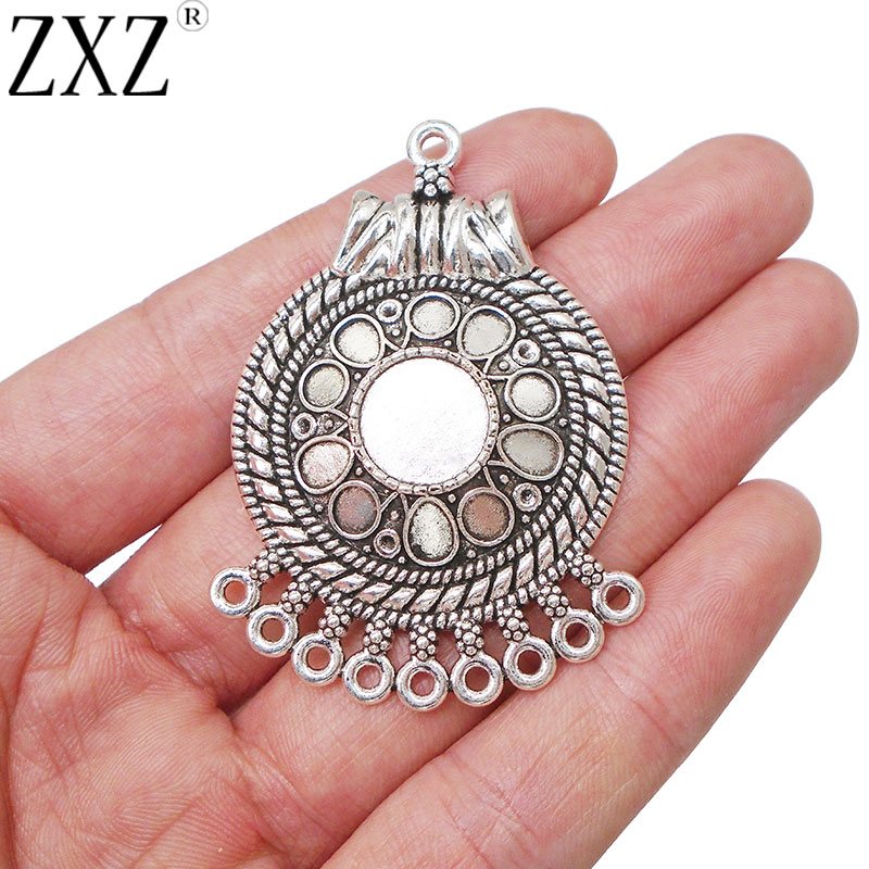 ZXZ 4pcs Antique Silver Tone Earring Chandelier Connectors Links Charms Pendants Components Jewelry Findings 54x36mm