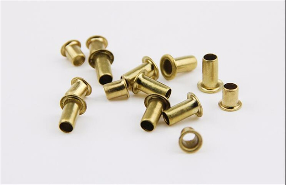 500/1000pcs M2*2mm Brass Eyelet Rivet Nut Copper Through Hole Rivets Hollow Grommet 500pcs 2mm m2 m2 7 brass tubular through hole hollow rivet eyelet pcb board vias nail