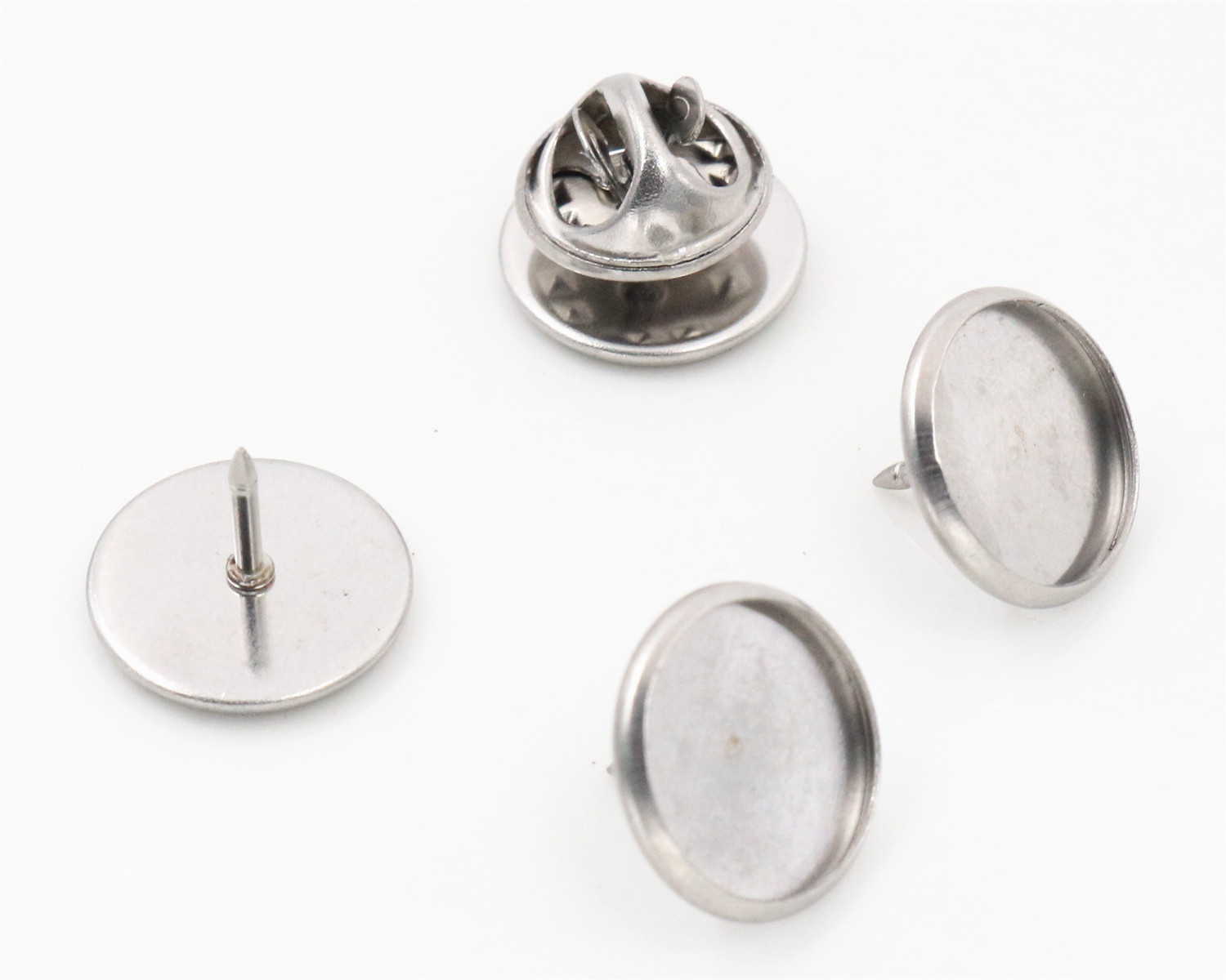 Spacer-Settings Cufflink Brooch-Style Cabochon-Base Blank Material Stainless-Steel Tack