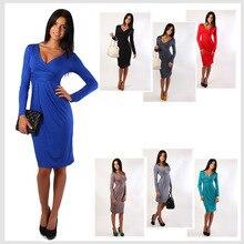 New 2015 Fashion Winter Dress Plus Size Women Clothing Casual Full Sleeve Knee-Length Deep V-Neck Sexy Club Sheath Party Vestido