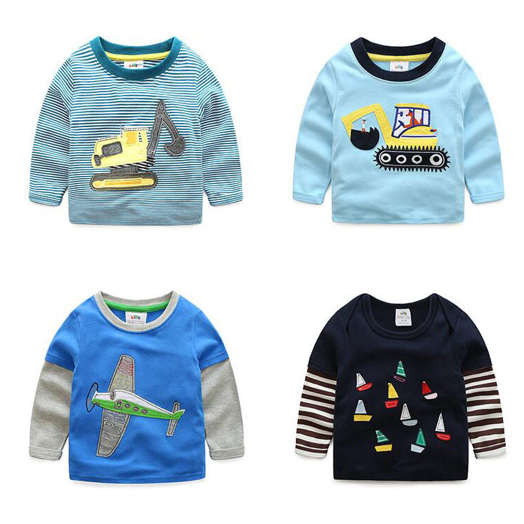 Boys-T-shirt-Kids-Tees-Baby-Child-Boy-Cartoon-Spring-Children-Tee-Long-Sleeve-Stitching-Cotton-Cars-Trucks-Striped-Autumn-Shirt-1